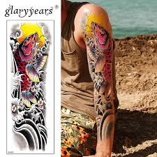 Glaryyears большая рука временные татуировки стикеры рыбы поддельные татуировки C