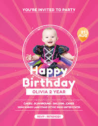 Birthday Flyers Template Free Baby Birthday Party Flyer Template In Adobe Photoshop 24