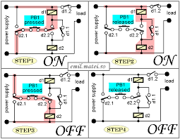 emil matei on off switch using 2 relays four versions Dpdt Momentary Switch Schematic matei on off switch using 2 relays four versions dpdt momentary switch wiring diagram