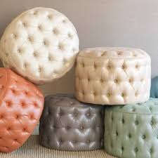 round leather tufted ottoman. All Images Round Leather Tufted Ottoman
