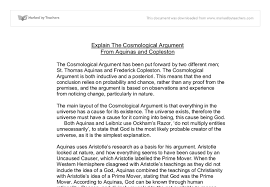 explain the cosmological argument gcse religious studies  document image preview
