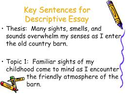 organization clarity ppt key sentences for descriptive essay