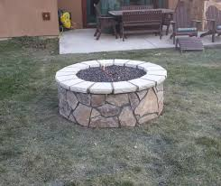 natural gas round stone fire pit
