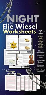 night by elie wiesel worksheets hw discussion questions for ww  night by elie wiesel worksheets hw discussion questions for ww2 memoir