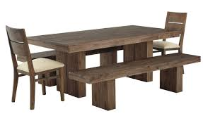 diy solid wood farmhouse dining table with double bench seat and 2 chairs with white fabric cushion covers for rustic dining room furniture ideas