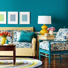 Vintage Living Room Paint Color Ideas, Bright Blue Walls And Textile  Patterns