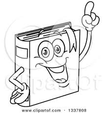 lineart clipart of a cartoon black and whtie book character holding up a finger royalty free outline vector ilration by yayayoyo
