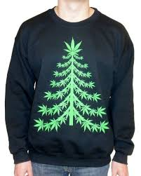 Amazon.com: Ugly Christmas Sweater - Marijuana Christmas Tree ...