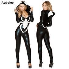 2018 spiderman jumpsuit new black costume for women las venom spider y faux leather catsuit