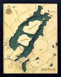 Lake Placid 3 D Nautical Wood Chart 16 X 20