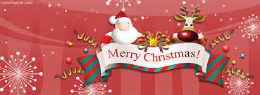Santa Reindeer Merry Christmas Banner Facebook Cover, Santa ...