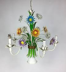 vintage italian painted tole metal fl chandelier