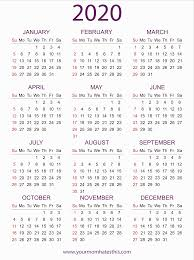 2020 Calendar Printable With Us Holidays 2020 Calendars In Pdf Download Templates Of Calendar 2020