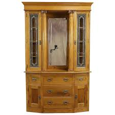oak antique sideboard china cabinet or bookcase stained glass doors harp gallery antique furniture ruby lane