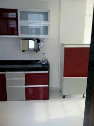 Small Crockery Unit Designs L Shaped Modular Kitchen Semi Tall Unit Wall Cabinets