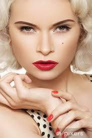 Nálepka Sexy žena S Vintage Make Up A účes Pin Up Girl Pixerstick