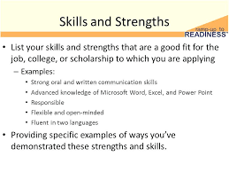 Job Weaknesses Examples Resume Strengths Examples Skills And Strengths List Your Skills And