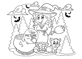 Small Picture Witch and cat coloring page for kids printable free Halloween