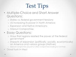 apush review key concept ppt  test tips multiple choice and short answer questions essay questions