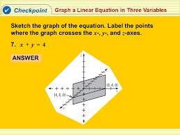 checkpoint graph a linear equation in three variables