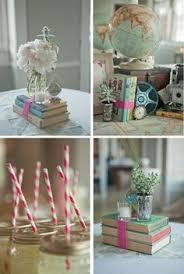book centerpieces lemonade summer themed