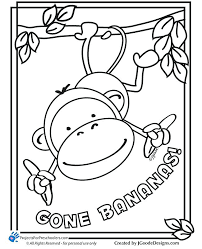 Fun Monkey Printable Coloring Page Kid Artists In Training