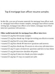Mortgage Loan Officer Resume Bank Adorable Example Runnerswebsite