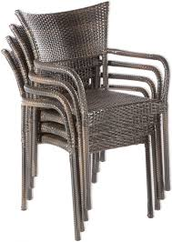 alfresco home tutto 48 round all weather wicker dining set with four stackable dining arm chairs