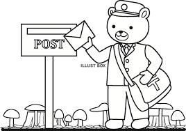 無料イラスト くまの郵便屋さん秋塗り絵