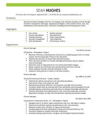 Simple Cv Examples Uk Management General Manager Cv Template Cv Samples Examples