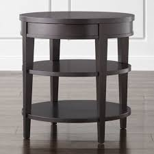round end table with drawer colette round side table with drawer in end tables reviews crate round end table