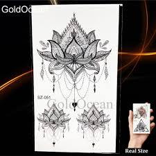 черная маленькая лапа временные татуировки женщины руку тела хна лотос кулон