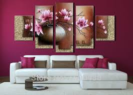 hand painted purple orchid flowers vase oil painting modern abstract 5 piece wall art acrylic canvas on purple orchid wall art with hand painted purple orchid flowers vase oil painting modern abstract