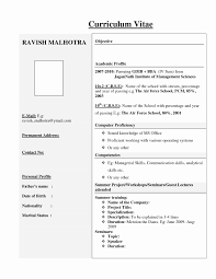 Mba Fresher Resume Format Doc Awesome 52 Awesome Resume Format For