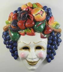 Decorative Venetian Wall Masks ceramic decorative Bachus wall mask with fruits 34