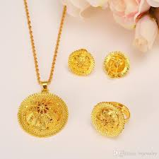 ethiopian gold jewelry set pendant necklaces earring ring africa women men bridal wedding party eritrea sets with 8 99 piece on brjewelry s