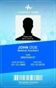 Id Card Templates Free Medical Id Card 4 Word Id Badge Id Card Templates Free