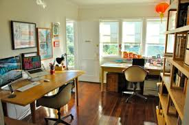 two desk home office. Beautiful Office Freelance Writer Alissa Walker And Illustrator Graphic Designer Art  Director Keith Scharwath Share A Space But Not Desk Giving Both Room To Spread  To Two Desk Home Office