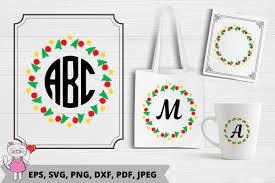 Christmas Wreath Monogram Svg Graphic By Magic World Of Design Creative Fabrica