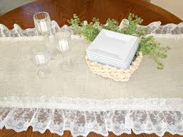 furniture runners. DIY Vintage White Burlap And Lace Table Runner On Round Wood Wedding With Rattan Plate Storage Box Ideas Furniture Runners