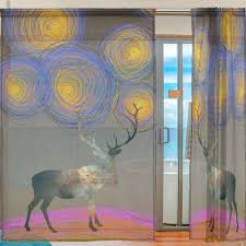 Starry Night Design Us 47 51 20 Off 2 Pieces Creative Elk With Van Gagh Starry Night Design Tulle Transparent Window Treatments Curtains For Kitchen Sheer Curtain In