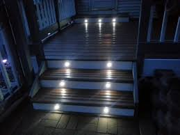 led step lights 6 led mini round deck step accent light shown installed in customers porch step