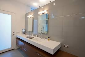 mid century modern bathroom vanity. Mid Century Modern Bathroom Vanity Led Light With Two Frameless Mirrors Floated And Frosted Glass Door E
