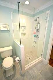 walk in shower with half wall pony wall shower height of pony wall in bathroom pony