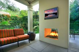 outdoor modern two sided fireplace tropical patio