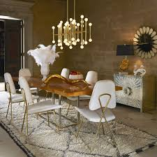 jonathan adler dining bond dining table meurice rectangle chandelier lifestyle portrait