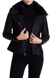 image of guess faux fur trim collar quilted faux leather jacket