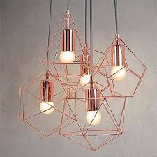 image of copper cage ceiling light