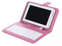 7 inch Tablet Keyboard Case - Pink: Cases