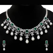 indian designer american diamond silver necklace set